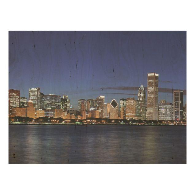 Holz Wandbild - Chicago Skyline bei Nacht - Quer 4:3