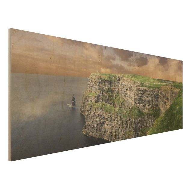 Holz Wandbild - Cliffs Of Moher - Panorama Quer
