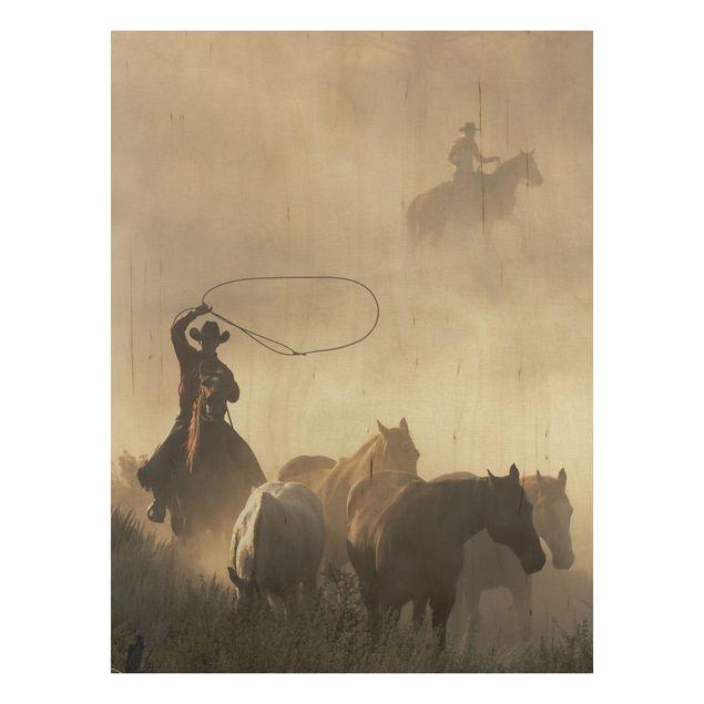 Bild aus Holz - Cowboys - Hoch 3:4