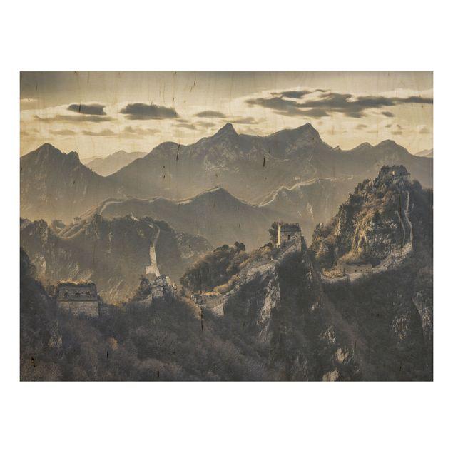 Holz Wandbild - Die große chinesische Mauer - Quer 4:3