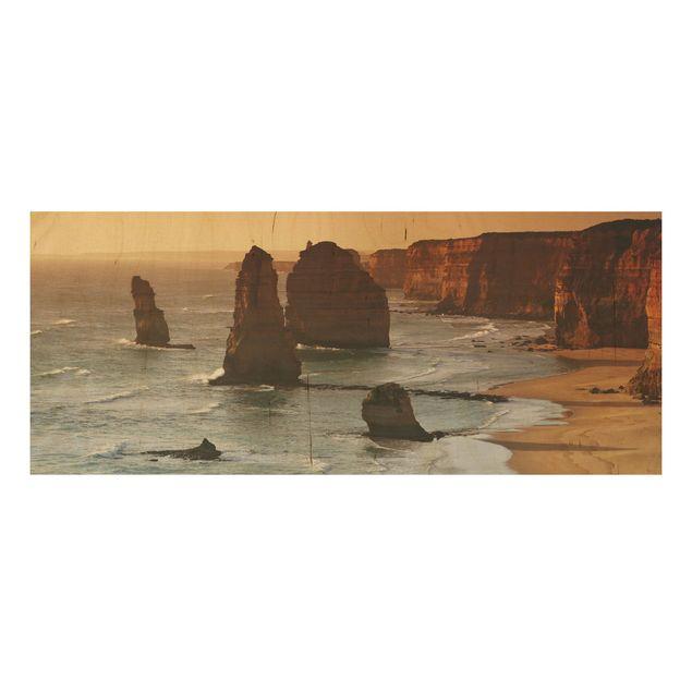 Holzbild - Die zwölf Apostel von Australien - Panorama Quer