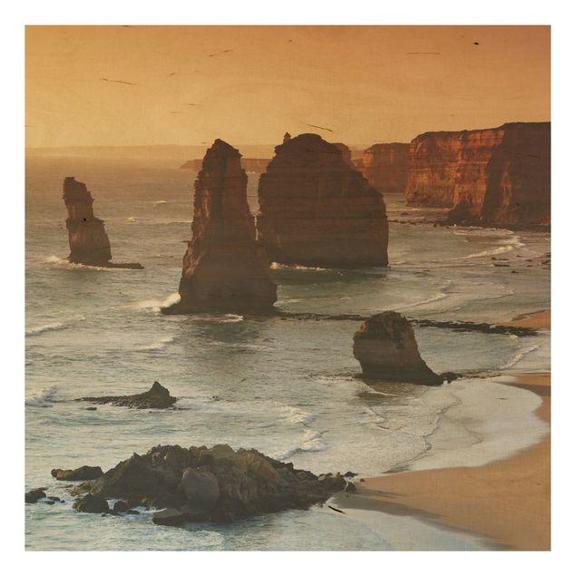Holzbild - Die zwölf Apostel von Australien - Quadrat 1:1