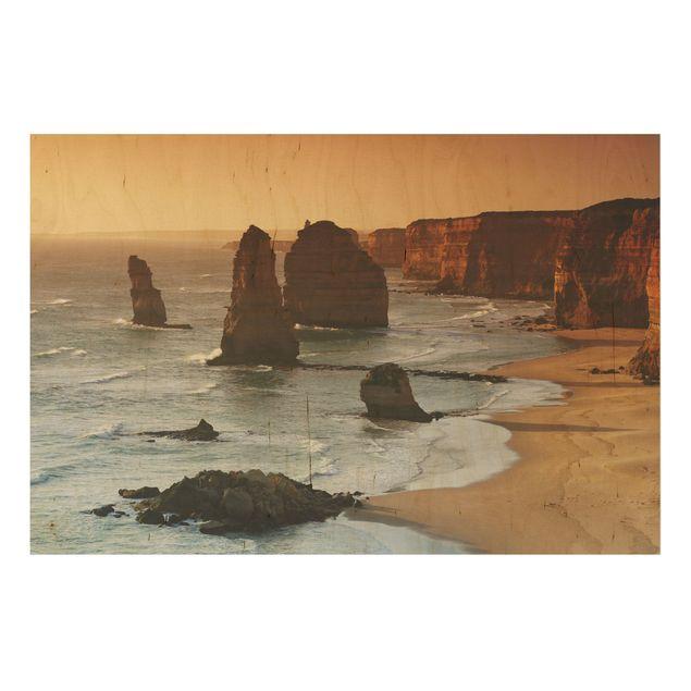 Holzbild - Die zwölf Apostel von Australien - Quer 3:2