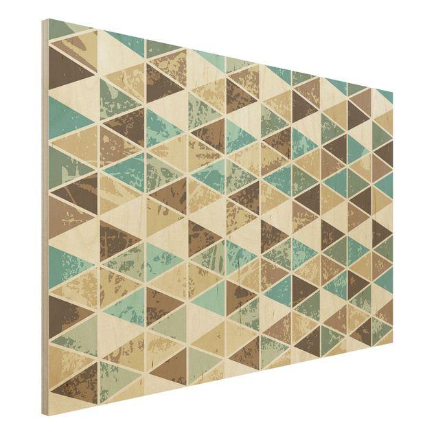 Wandbild Holz - Dreieck Rapportmuster - Quer 3:2