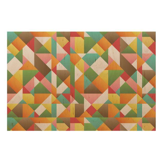 Wandbild Holz - Dreiecke Musterdesign - Quer 3:2