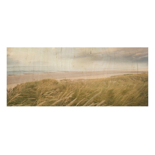 Holzbild Meer - Dünentraum - Panorama Quer