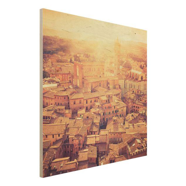 Holz Wandbild - Fiery Siena - Quadrat 1:1
