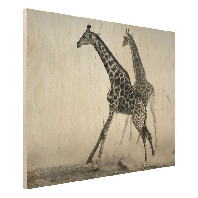 Wandbild aus Holz - Giraffenjagd - Quer 4:3