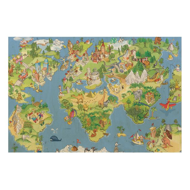 Holzbild Weltkarte - Great and funny Worldmap - Quer 3:2