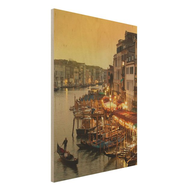 Holz Wandbild - Großer Kanal von Venedig - Hoch 3:4