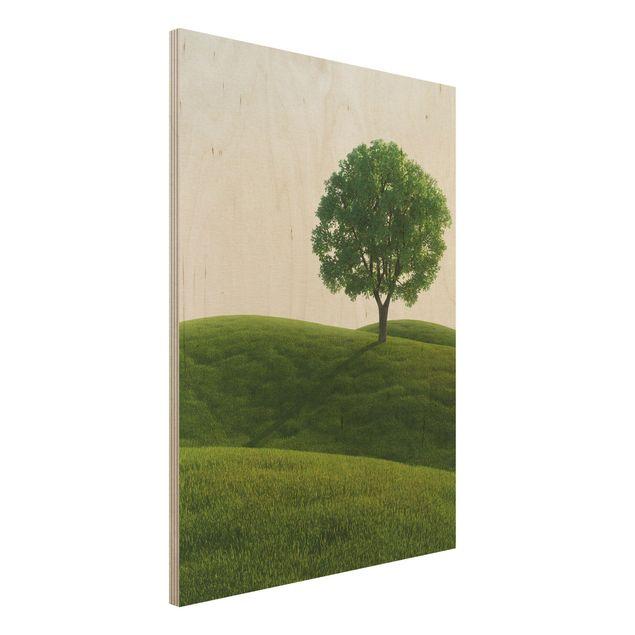 Holzbild - Grüne Ruhe - Hoch 3:4