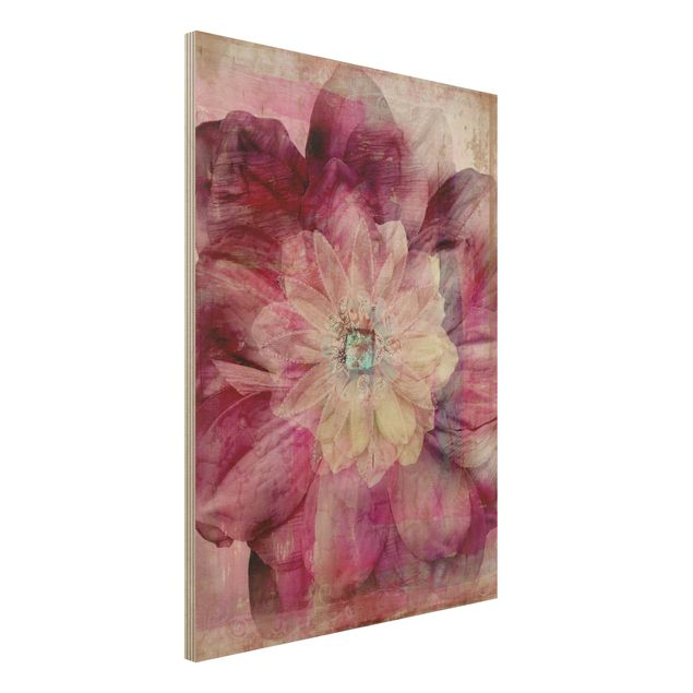 Holzbild - Grunge Flower - Hoch 3:4