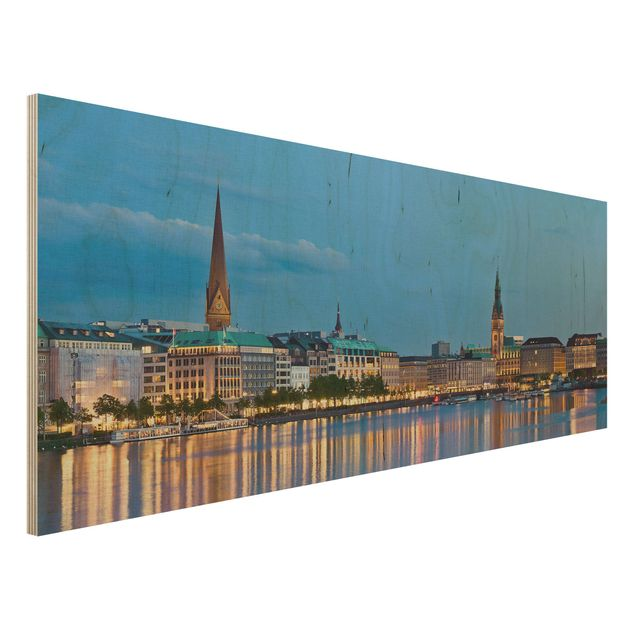 Holzbild - Hamburg Skyline - Panorama Quer