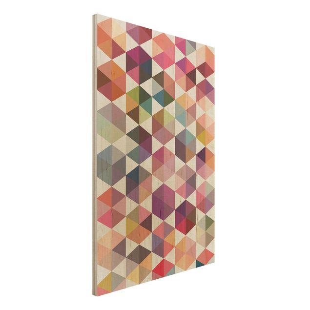 Wandbild Holz - Hexagon Facetten - Hoch 2:3