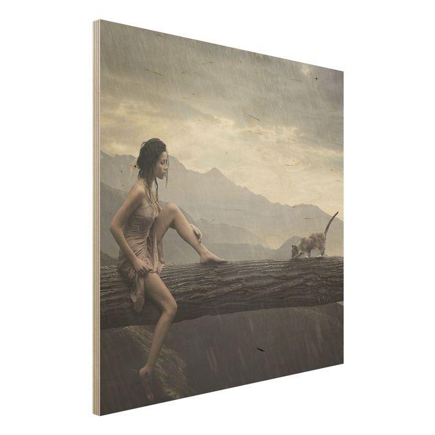 Holzbild - Jane in the Rain - Quadrat 1:1
