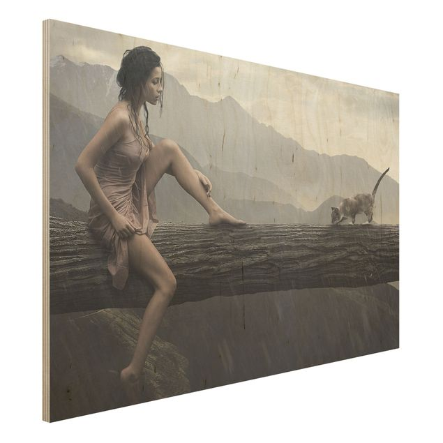 Holzbild - Jane in the Rain - Quer 3:2