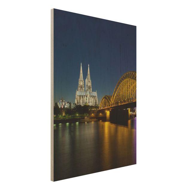 Holzbild - Köln bei Nacht - Hoch 3:4