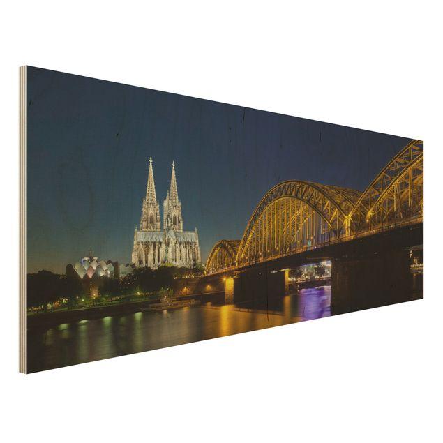 Holzbild - Köln bei Nacht - Panorama Quer