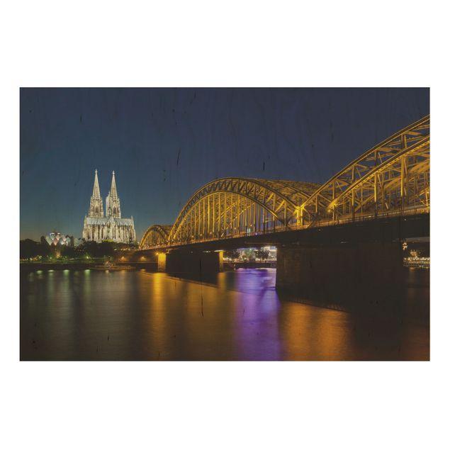 Holzbild - Köln bei Nacht - Quer 3:2