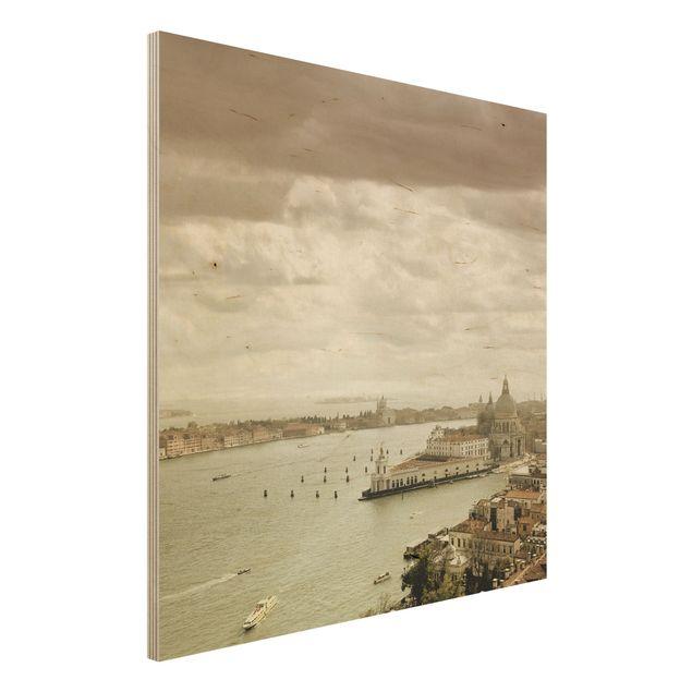 Holz Wandbild - Lagune von Venedig - Quadrat 1:1