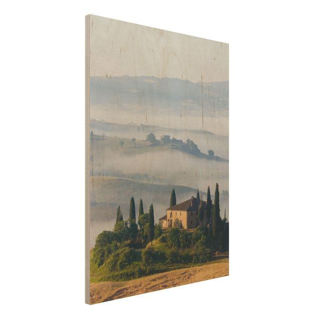 Holzbild - Landgut in der Toskana - Hoch 3:4