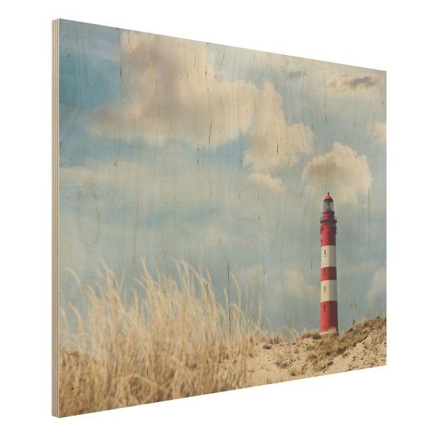 Wandbild Holz - Leuchtturm in den Dünen - Quer 4:3