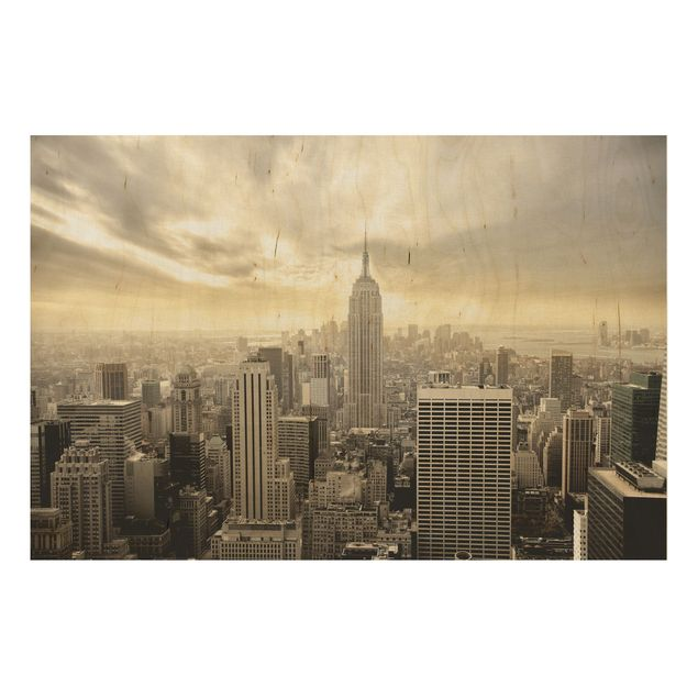 New York Holzbild - Manhattan Dawn - Quer 3:2