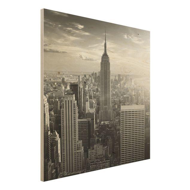 Bild aus Holz - Manhattan Skyline - Quadrat 1:1