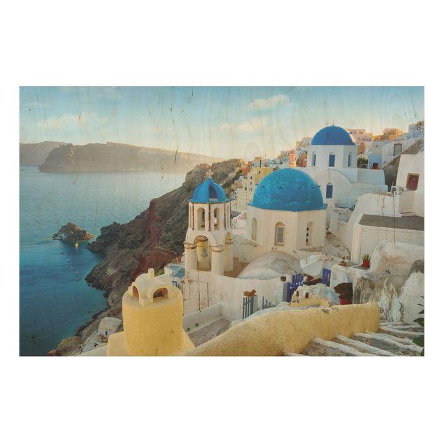 Holzbild Meer - Santorini - Quer 3:2