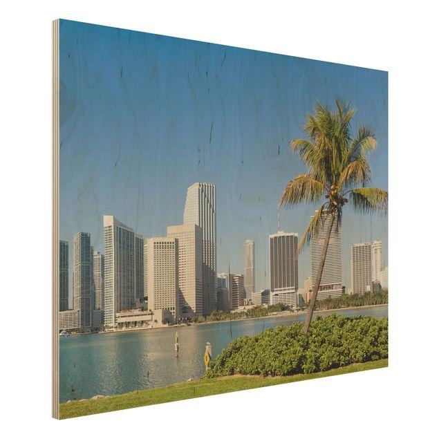 Wandbild aus Holz - Miami Beach Skyline - Quer 4:3