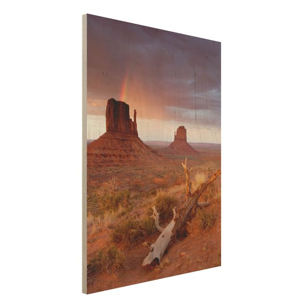 Wandbild aus Holz - Monument Valley bei Sonnenuntergang - Hoch 3:4