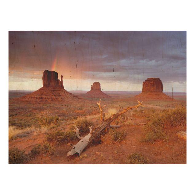Wandbild aus Holz - Monument Valley bei Sonnenuntergang - Quer 4:3