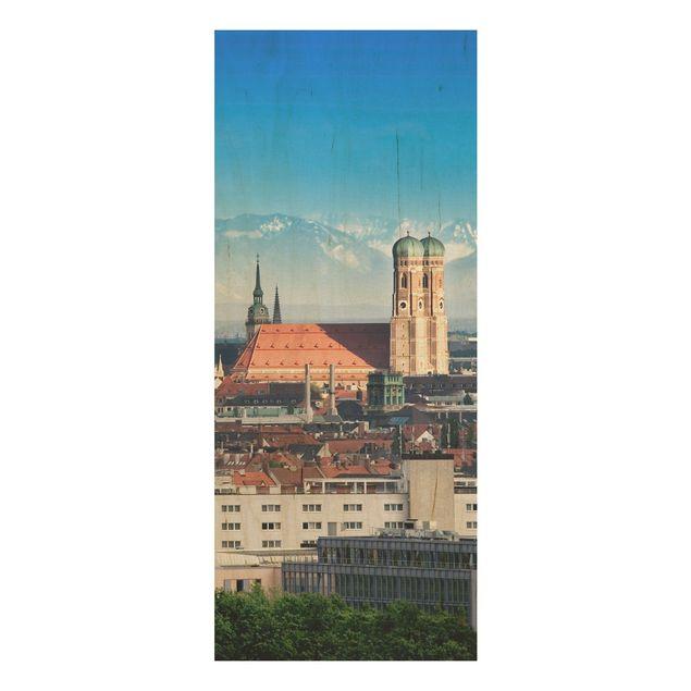Holzbild - München - Panorama Hoch