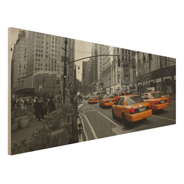 Holzbild - New York, New York! - Panorama Quer
