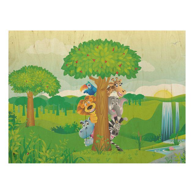 Holzbild - No.BF1 Dschungeltiere - Quer 4:3