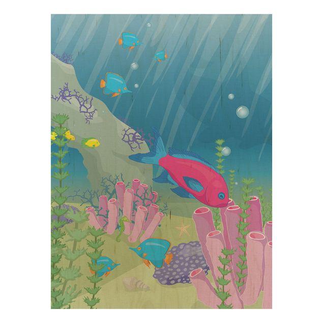Bild aus Holz - No.RY25 Unterwasserwelt - Hoch 3:4