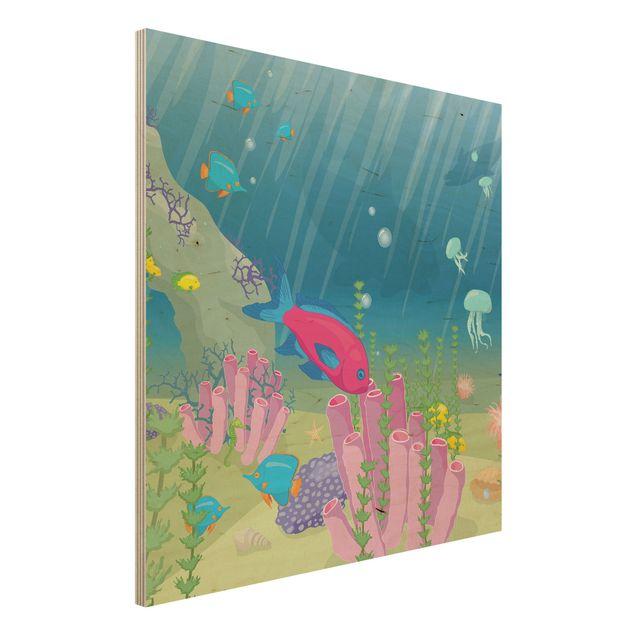 Bild aus Holz - No.RY25 Unterwasserwelt - Quadrat 1:1