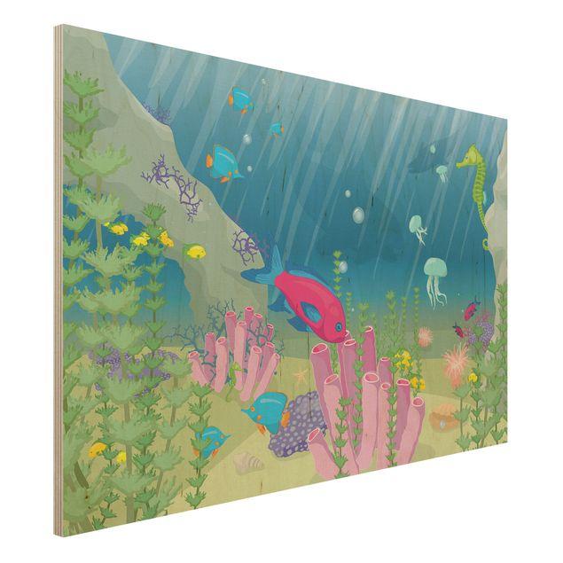 Bild aus Holz - No.RY25 Unterwasserwelt - Quer 3:2