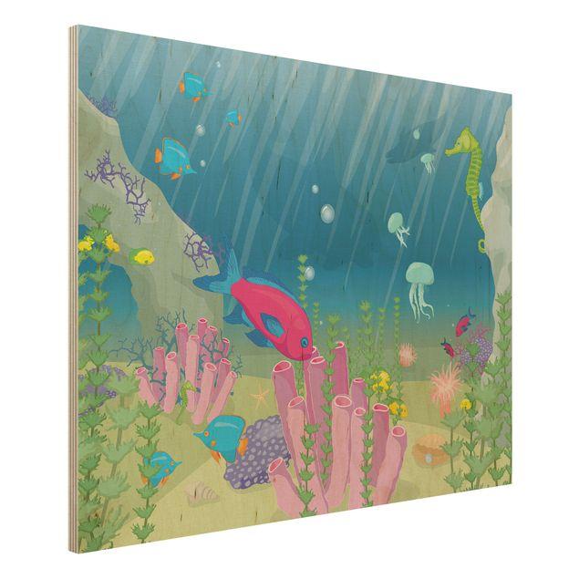 Bild aus Holz - No.RY25 Unterwasserwelt - Quer 4:3