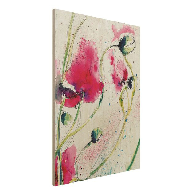 Holzbild - Painted Poppies - Hoch 3:4