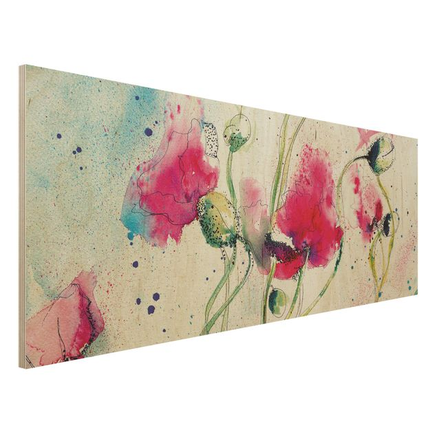 Holzbild - Painted Poppies - Panorama Quer