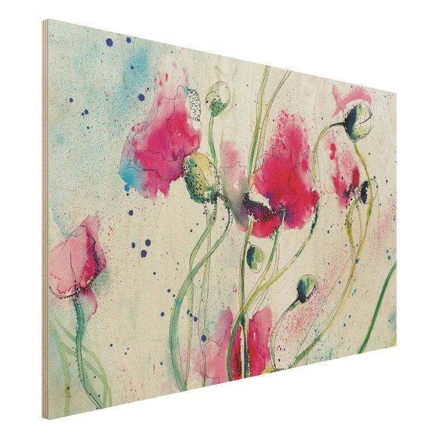 Holzbild - Painted Poppies - Quer 3:2