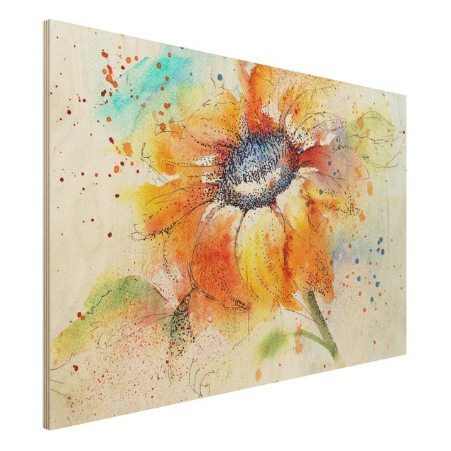 Holzbild - Painted Sunflower - Quer 3:2