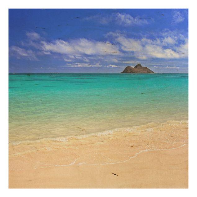 Holzbild Meer - Paradise Beach - Quadrat 1:1