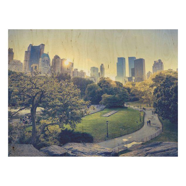 Holz Wandbild - Peaceful Central Park - Quer 4:3