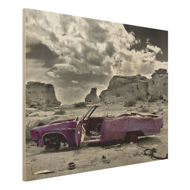 Wandbild Holz - Pink Cadillac - Quer 4:3