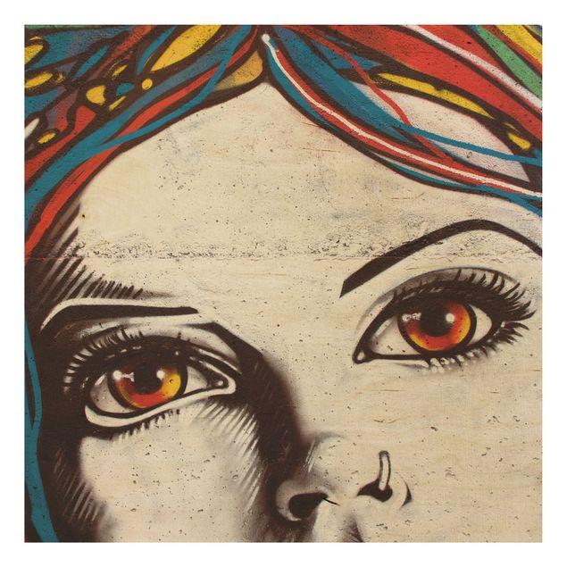 Holzbild - Punk Graffiti - Quadrat 1:1