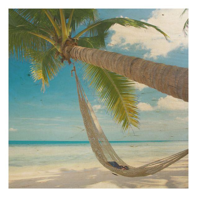 Holzbild Strand - Relaxing Day - Quadrat 1:1