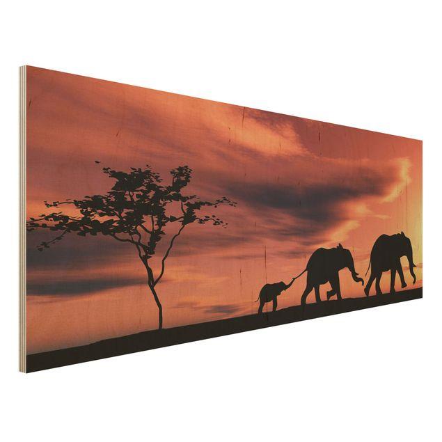 Holzbild - Savannah Elefant Family - Panorama Quer