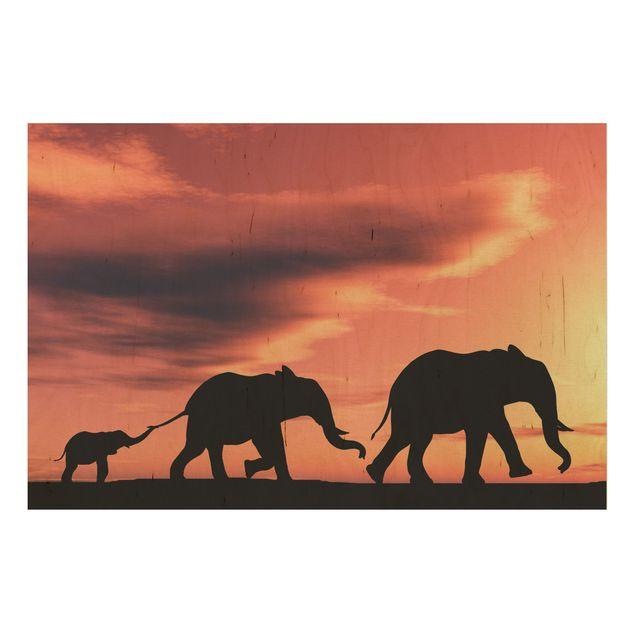 Holzbild - Savannah Elefant Family - Quer 3:2